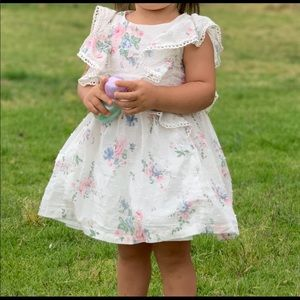 White and floral ruffle dress
